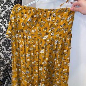 Yellow flowered off the shoulder dress